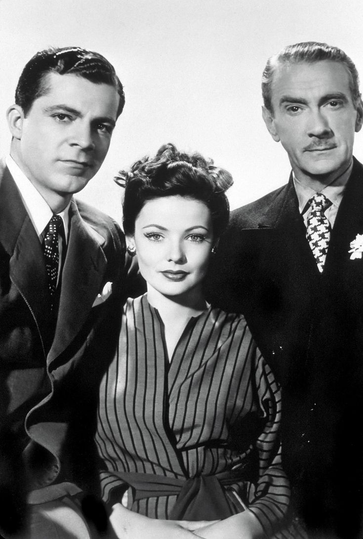 "Dana Andrews, Gene Tierney & Clifton Webb in ""Laura"" 1944."