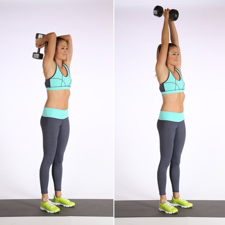 Stand with your feet hip-distance apart.  Hold one dumbbell (go for your heavier weight) with both hands, b...