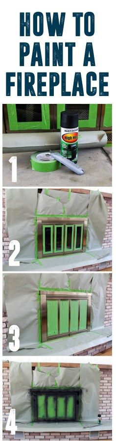 How To Spray Paint a Brass Fireplace www.BrightGreenDoor.com