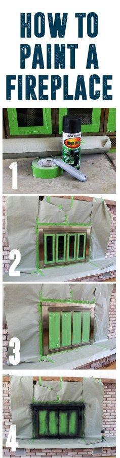 How To Spray Paint a Brass Fireplace www.BrightGreenDoor.com