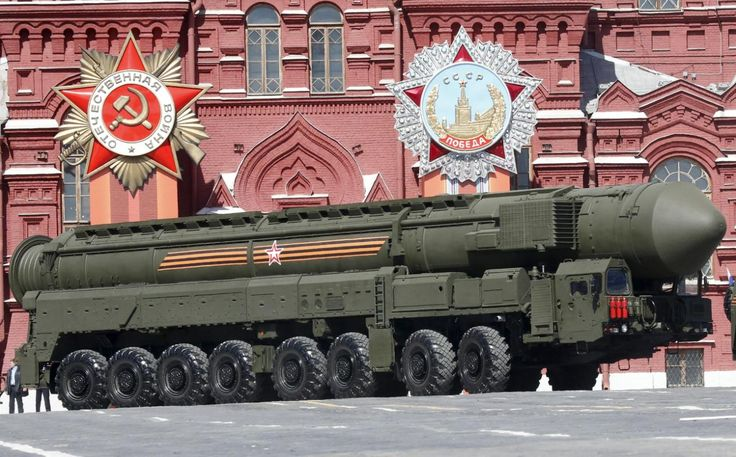 A Russian Yars RS-24 intercontinental ballistic missile system drives during a rehearsal for the Victory Day parade in Red Square in central Moscow