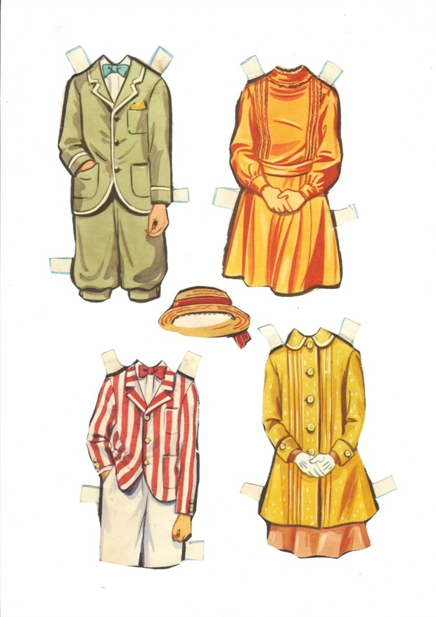 Jane and Michael Banks Paper Doll Clothes