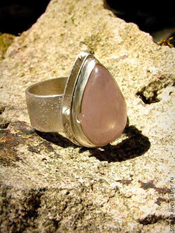 Купить Серебряное кольцо с розовым кварцем - кольцо, кольцо серебряное, кольцо серебро, кольцо из серебра