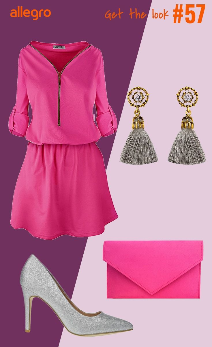 Rozowa Sukienka Kolczyki Rozowa Kopertowka Szare Szpilki Fashion Moda Polyvore Image