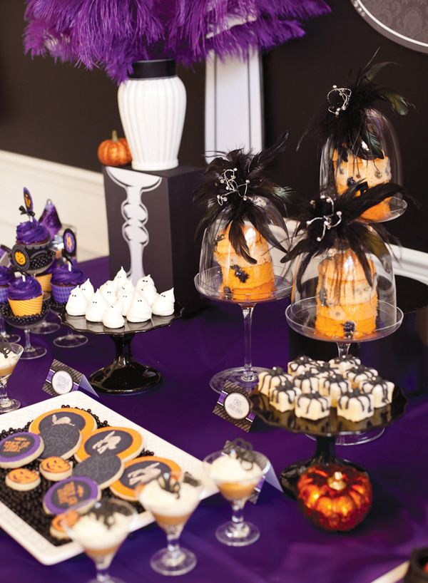 Halloween Party Dessert Table - I like incorporating more purple