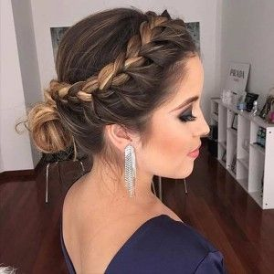 Side Braid into Low Bun Prom Updo