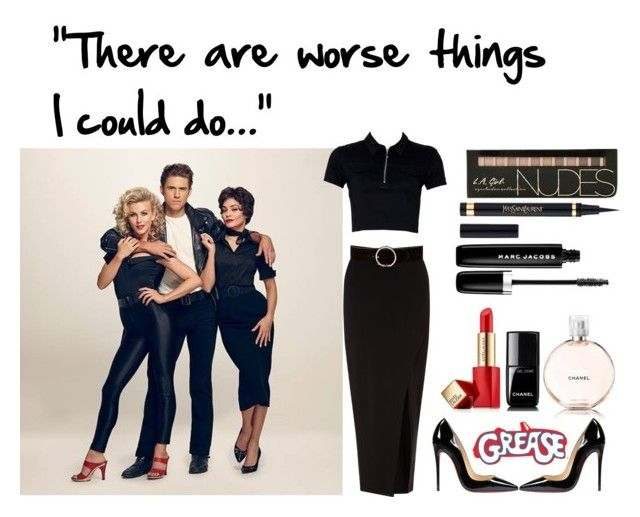"""""""Rizzo from Grease"""" by glittergirlsequins on Polyvore featuring JULIANNE, Miss Selfridge, Chanel, Christian Louboutin, Yves Saint Laurent, Marc Jacobs and Estée Lauder"""