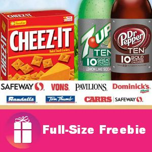 FULL-SIZE FREEBIE Cheez-It and 7 Up or Dr. Pepper Ten with free product coupon by mail for Safeway affiliate stores (Aug. 5) http://freebies4mom.com/freecheez/