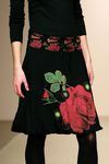 A line skirt. Floral print on velvet skirt