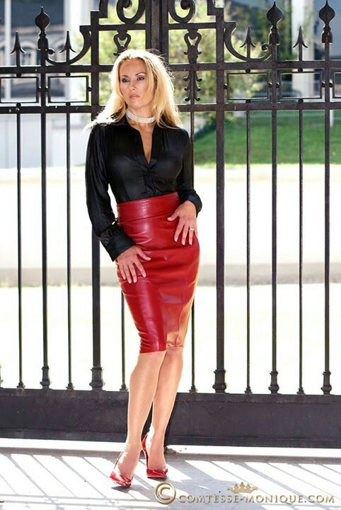 tight leather pencil skirt black blouse sheer