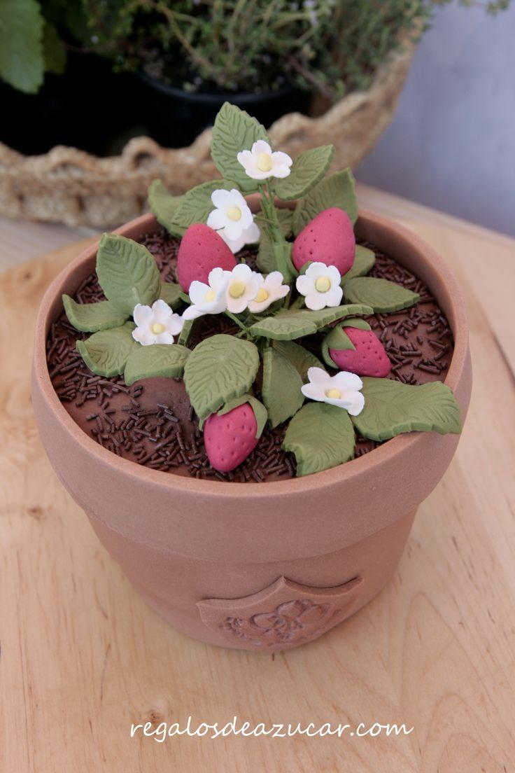 Tarta tiesto de fresón, strawberry pot cake