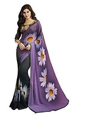 Z Fashion Women's Purple Georgette Saree