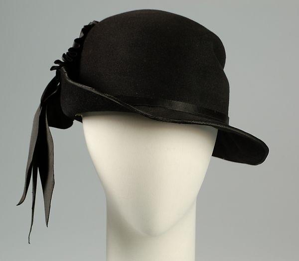 Hat Design House: Caroline Reboux  Designer: Caroline Reboux  Date: ca. 1915 Culture: French Medium: Wool, hair, silk Accession Number: 2009.300.5617