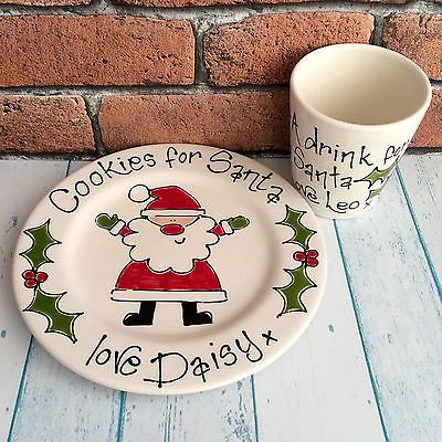 Personalised Handpainted Santa Treat Plate & Beaker Set Xmas Christmas Eve Gift