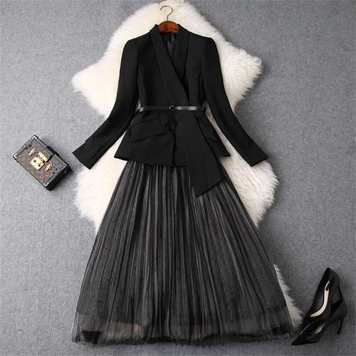 Designers Office Lady Two Piece Outfits Women Fall Winter Fashion Blazer Suit Long Sleeve Jacket+Midi Tulle Skirt Set 2