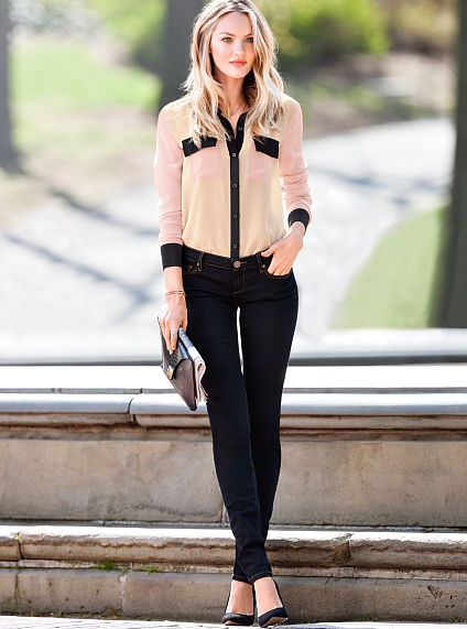 Victoria's Secret Siren Mid-rise Skinny Jean in Dark Night Angel paired with a blouse #MyVSFallEdit