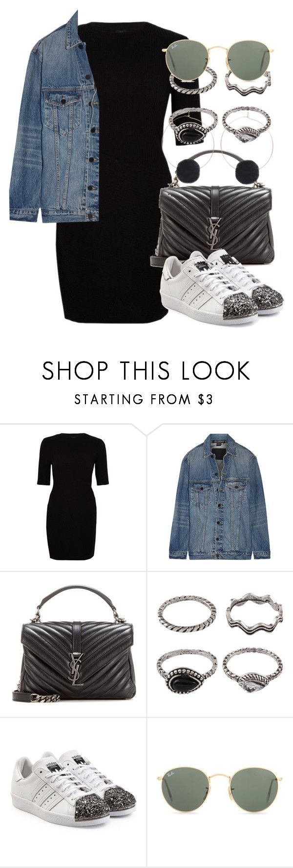 """""""*"""" by fashio-188 ❤ liked on Polyvore featuring River Island, Alexander Wang, Yves Saint Laurent, adidas Originals and Ray-Ban"""