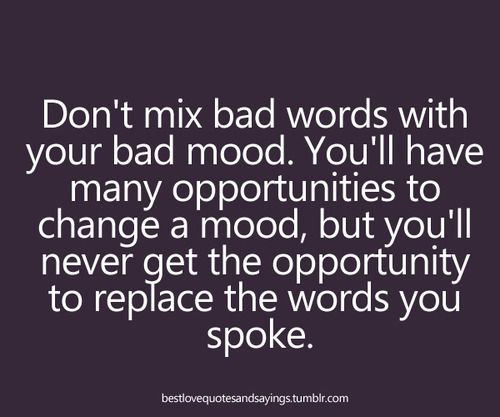 Don't mix bad words with your bad mood. You'll have many opportunities to change your mood, but you'll never get the opportunity to replace the words you spoke.