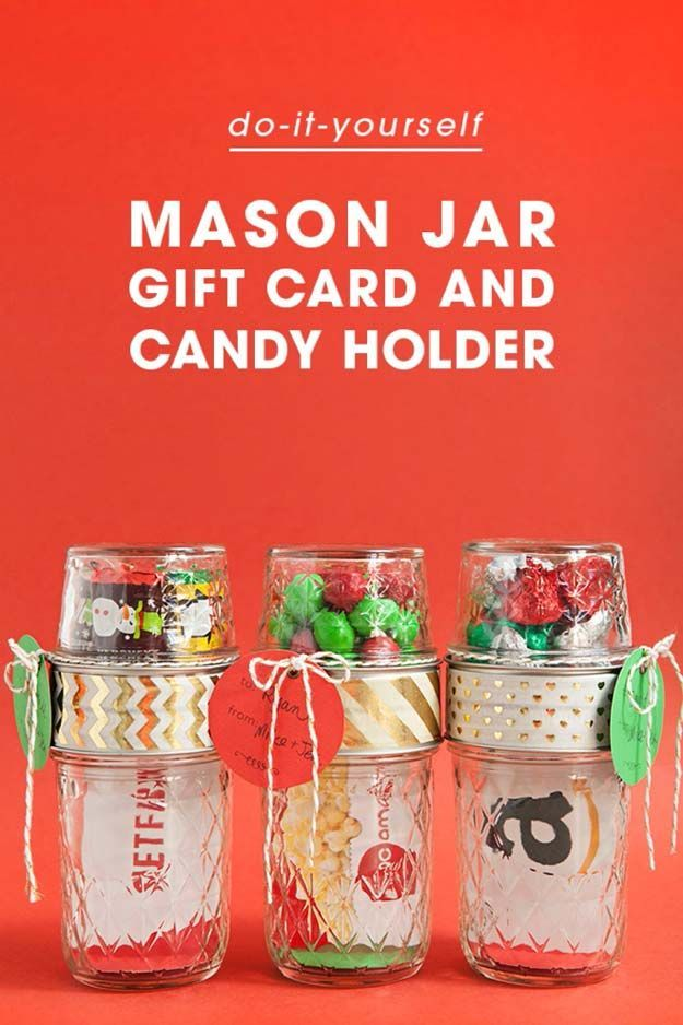Cute DIY Mason Jar Gift Ideas for Teens - DIY Mason Jar Gift Card + Candy Holder - Best Christmas Presents, Birthday Gifts and Cool Room Decor Ideas for Girls and Boy Teenagers - Fun Crafts and DIY Projects for Snow Globes, Dollar Store Crafts and Valentines for Kids