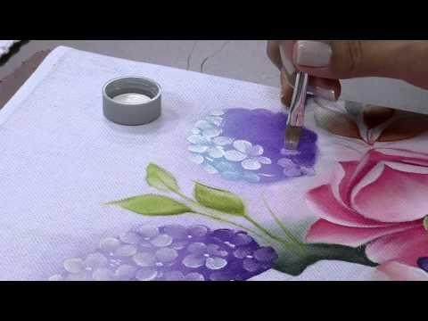 Mulher.com 29/05/2014 - Pintura de tecido rosas hortencias por Ana Laura Rodrigues Parte 1 - YouTube