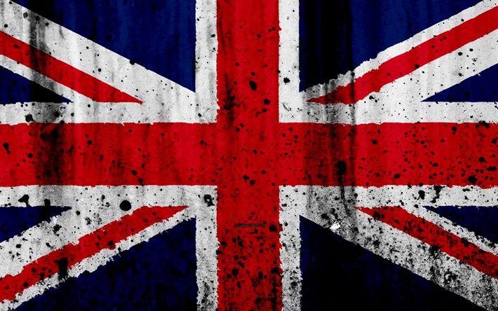 Download wallpapers flag of United Kingdom, 4k, grunge, stone texture, british flag, Europe, United Kingdom, UK flag, national symbols, Great Britain, Great Britain national flag