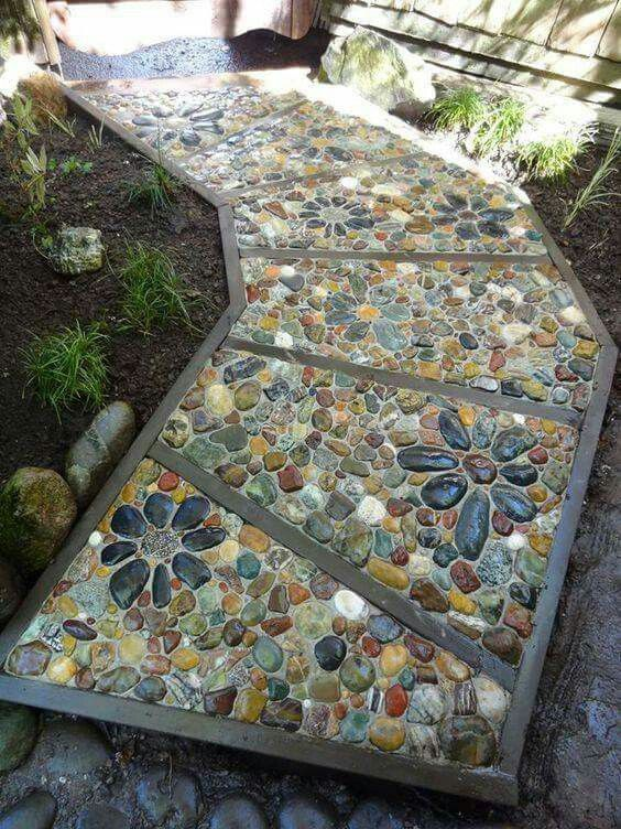 beautiful stone mosaic path found on marianne photo here on pinterest