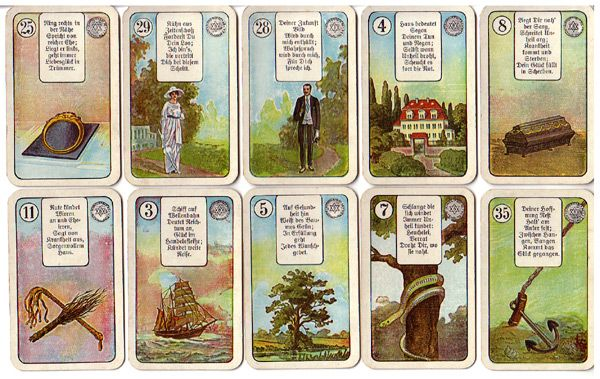 Lenormandkarten mit Orakelversen, ca. 1920 von der Spielkartenfabrik vorm. Schneider & Co. /Altenburg Thüringen