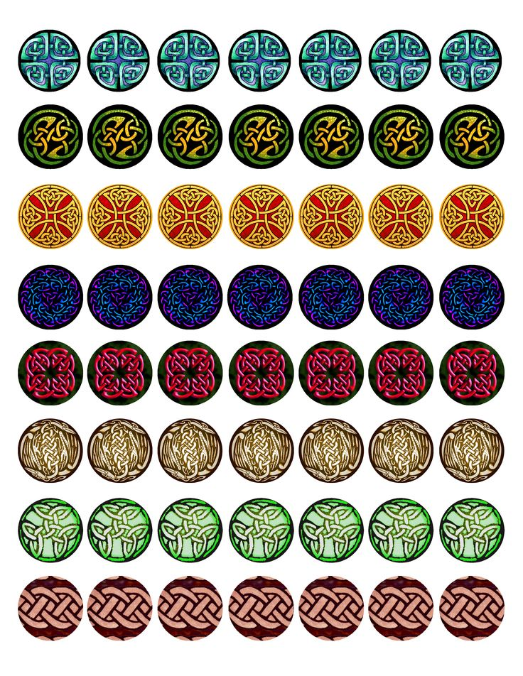 """FREE Bottle cap images - Celtic Knot-work Full-sheet collection #2, high resolution formatted for printing on 8.5"""" x 11"""" page"""