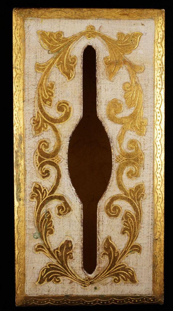 Midcentury Vintage Fabulous Gilt Italian White and Gold Florentine Tissue Box Holder