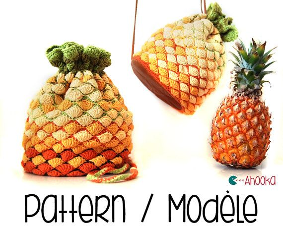 Pineapple crochet bag pattern  DIY exotic fruit by Ahookashop