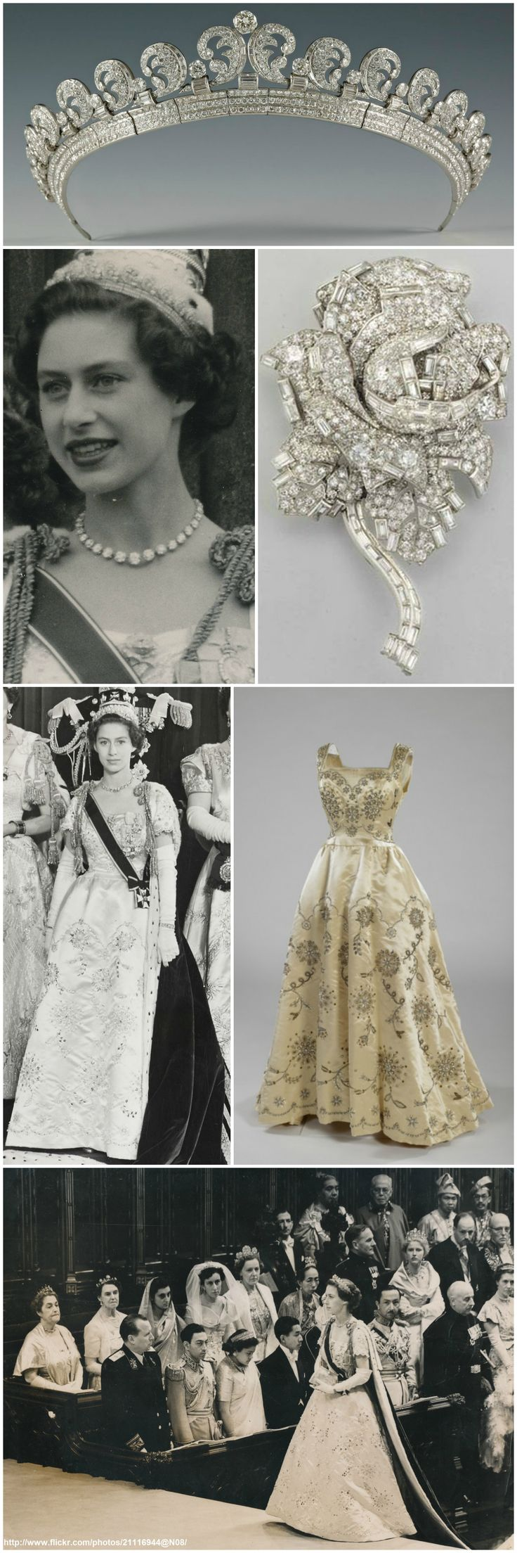"""For the 1953 coronation, H.R.H. Princess Margaret donned a white satin Norman Hartnell dress with an openwork design of broderie anglaise. According to the Royal Collection, the dress was embroidered in crystal with a design of stylized marguerites and roses, in reference to her name Margaret Rose. The sleeves were later removed, so that the dress could be used for other events. She also wore the """"Halo Scroll"""" Tiara and Diamond Rose Brooch (made by Cartier in 1936 and 1938, respectively)."""