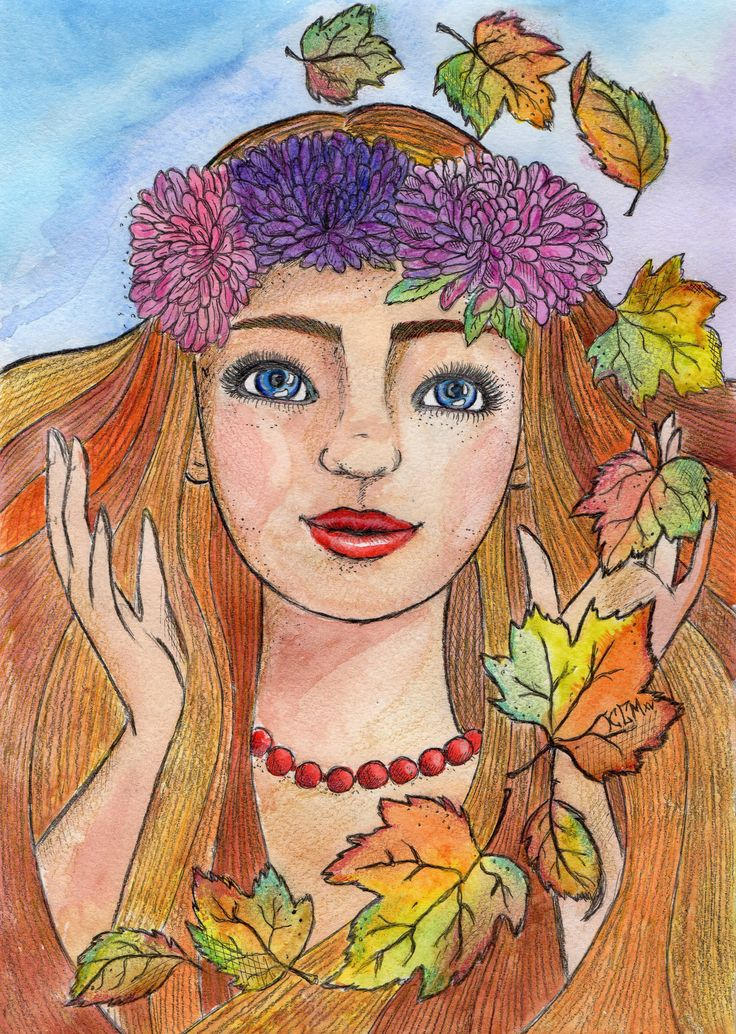 девушка осень рисунок акварель   Art, Character, Fictional ...  Девушка Осень Рисунок