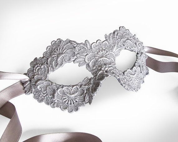 Silver Embroidery Masquerade Mask - Lace Applique Covered Venetian St…