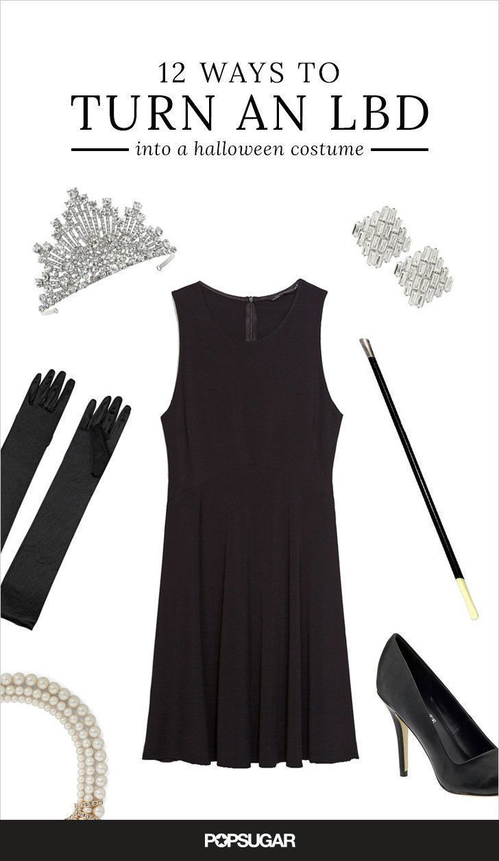 Black dress costume ideas - 12 Ways To Wear Your Favorite Lbd This Halloween Black Dress Halloween Costumehalloween Costume Ideaseasy
