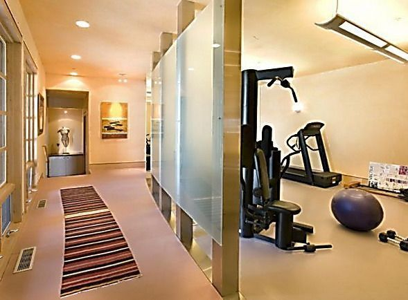 Partial Translucent Wall Divider For Home Gym In Basement Homegymlayout Home Gym Design Home Gym Basement Home Gym Decor