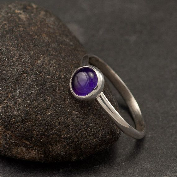 Amethyst Ring Sterling Silver Ring Purple Stone Ring by Artulia, $38.00