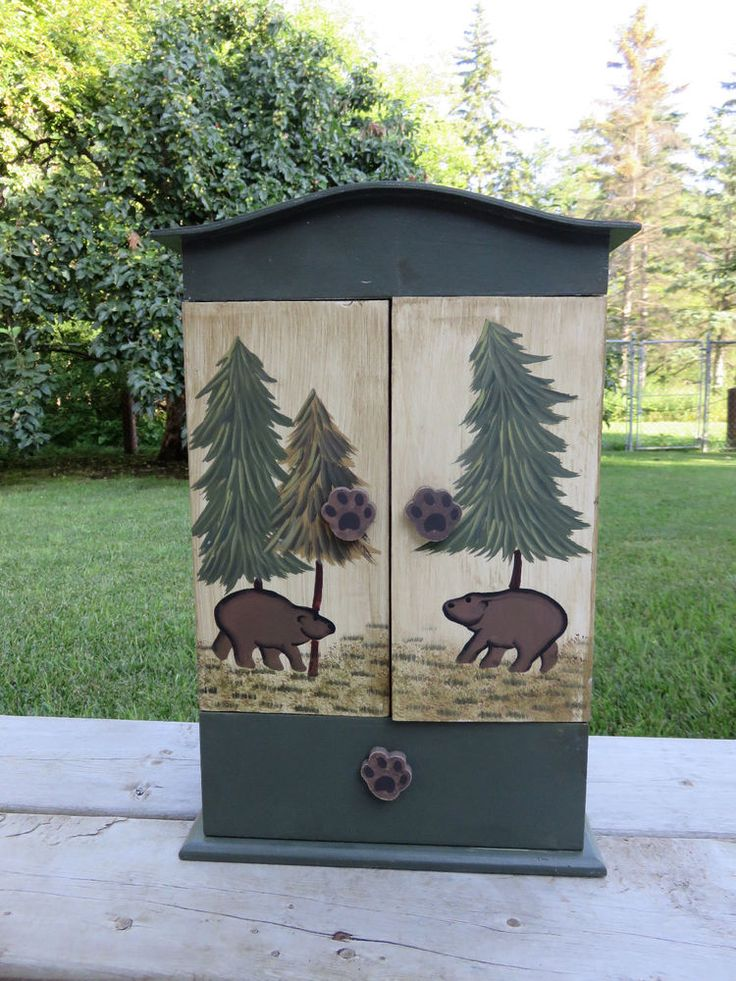 """Bear 16 """" Cabinet  Wood with Shelf Decor cottage table stencilled trees new #Cottage"""