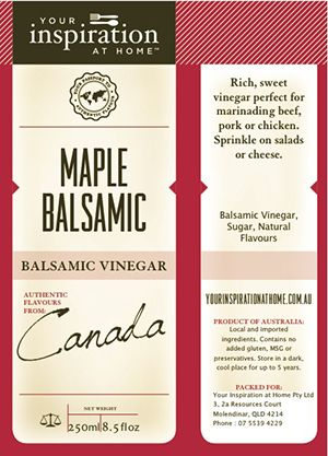Maple Balsamic Vinegar. Blends Excellently with Wild Lime Extra Virgin Olive…
