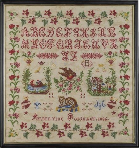 19th Century French Sampler Dated 1896