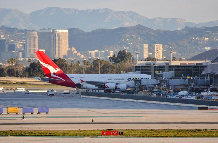 Qantas A380 at TBIT at LAX the morning of February 16, 2013.