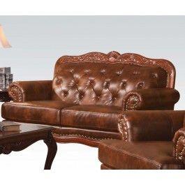 ACMEF05946-Dark Brown Leather Loveseat