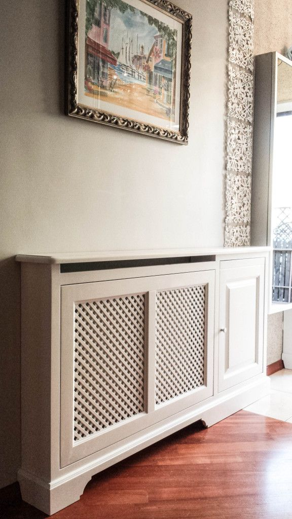 osłona grzejnika z olchy malowanej na biało, white classic style heater cover/radiator cover - wykonanie Artystyczna Manufaktura