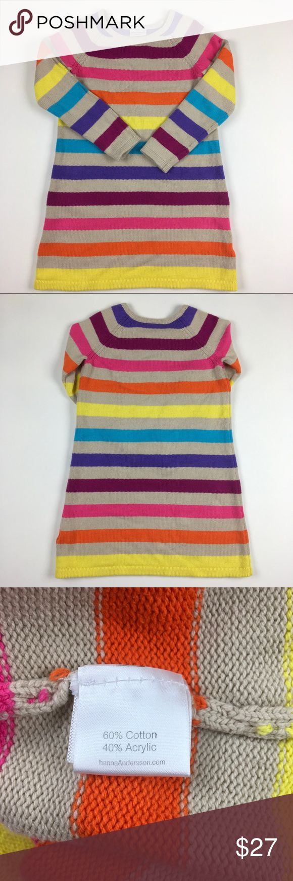 Hanna Andersson Sweater Dress Hanna Andersson rainbow stripe sweater dress size EU 130/ US 8-girls Hanna Andersson Shirts & Tops Sweaters