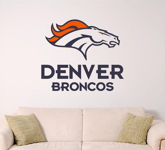 Denver bronco wall decal by signguysandgal on etsy wall for Denver broncos bedroom ideas