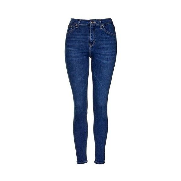 TopShop Moto Rich Indigo Jamie Jeans ($55) ❤ liked on Polyvore featuring jeans, blue, blue high waisted jeans, indigo jeans, rock n roll jeans, high waisted denim skinny jeans and button fly jeans