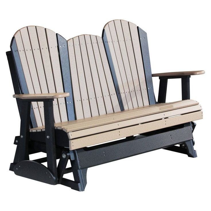 Poly Adirondack Porch Glider 5 foot $775.00 - Looking for a glider to accommodate three people in the outdoors? This is just the thing you need! Its state of the art design and robust built make it a worthy buy. Composed using 90% recycled waste material, this glider is a perfect example of environmental friendliness. Conceptualized and designed by the famous Amish craftsmen, this glider can be kept outdoors for months and it won't lose its vibrant color.