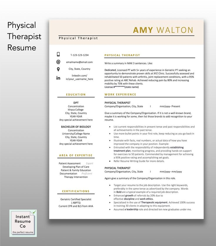 Physical therapist licensed pt professional resume