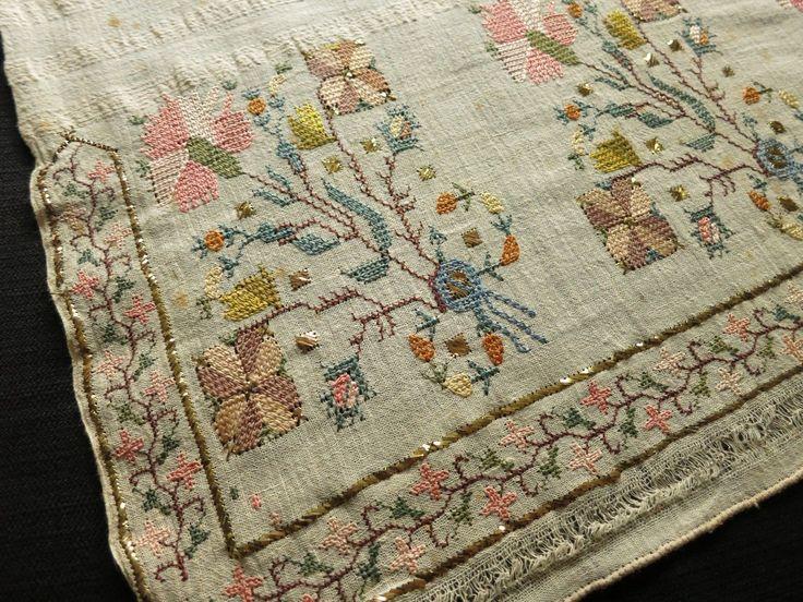 Antique Ottoman Turkish Silk Embroidery Towel Yaglik Metallic Accents 19x50 | eBay
