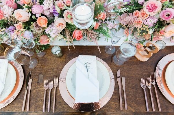 Floral Runner + Rose-Gold Place Setting | Photography: Katie Shuler Photography. Read More:  http://www.insideweddings.com/news/celebrity-style/inside-the-rustic-chic-wedding-of-anna-camp-skylar-astin/3236/