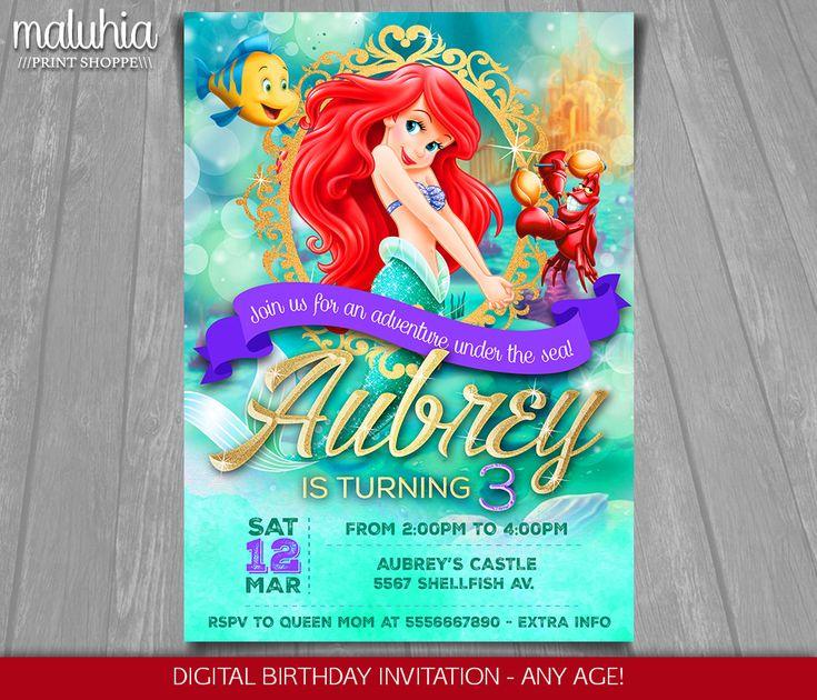 LInvitation de la petite sirène Disney Ariel par MaluhiaPrints
